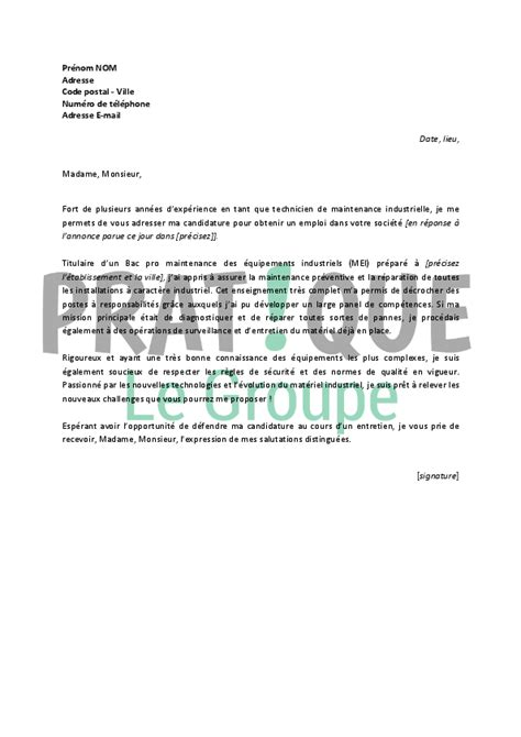 Lettre De Motivation De Soudeur Lettre De Motivation Technicien De Maintenance Lettre De Motivation 2017