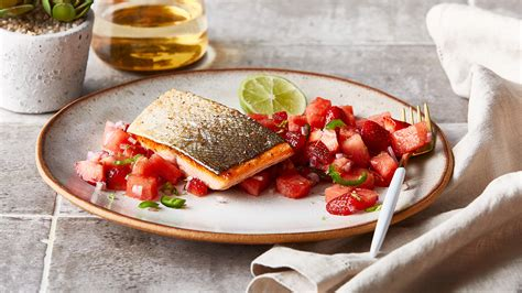 Spicy Skin Salmon 5ptg crispy skin salmon with spicy watermelon and berry salsa recipe the fresh market the fresh