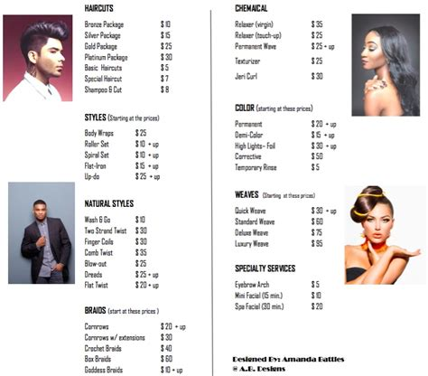 list of hairstyle prices price list arkansas college of barbering hair design