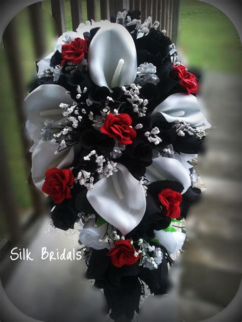 theme black rose bridal bouquet silk wedding flowers black red white silver