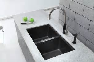 What Is An Undermount Kitchen Sink Kraus Kgu 434b Undermount Bowl Black Onyx Granite Kitchen Sink Modern Kitchen Sinks