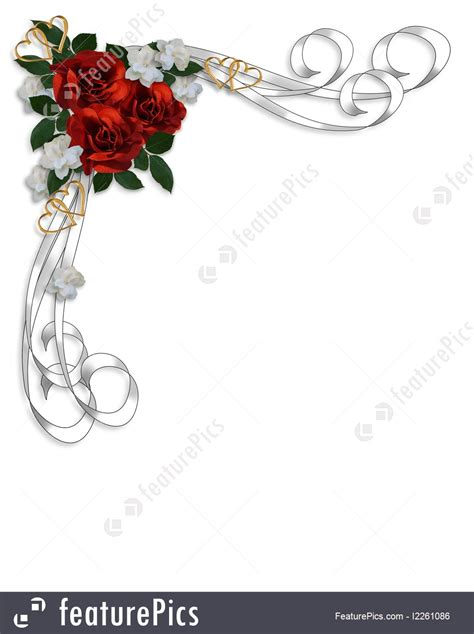 Gardenias by Wedding Invitation Red Roses Border Illustration