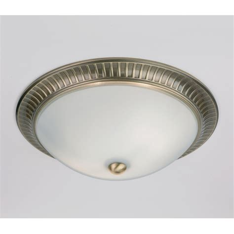 Ceiling Light Endon 91123 2 Light Flush Ceiling Light Antique Brass Opal Glass Shades Ip20
