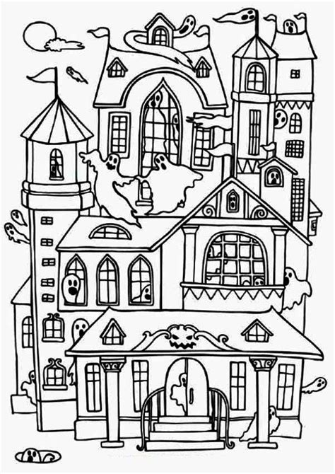 Free Printable Haunted House Coloring Pages For Kids Haunted House Colouring Pages