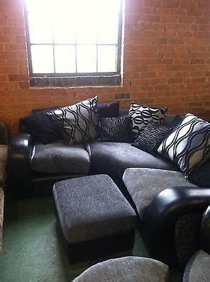 Dfs Mylo Black Leather Fabric Corner Sofa Swivel Cuddle Dfs Leather And Fabric Sofas