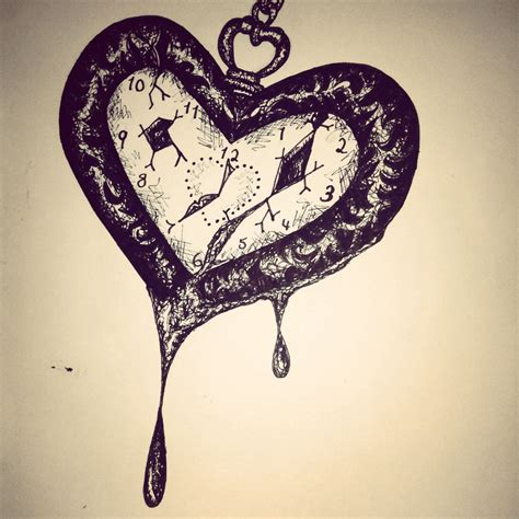 heart shaped tattoos designs shaped broken pocket pen drawing