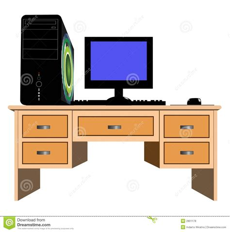 on computer desk and computer stock photo image of office wood blue 2801178