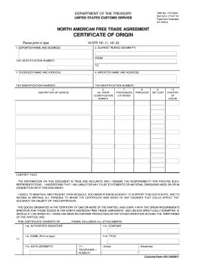 nafta certificate template gift certificate templates forms fillable printable