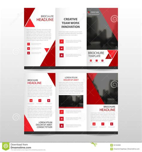 brochure flat design red triangle business trifold leaflet brochure flyer