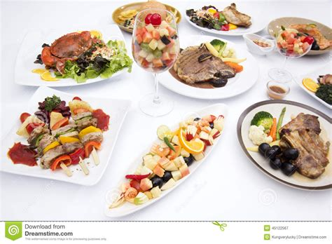 food on the table international food on the white table stock photo image