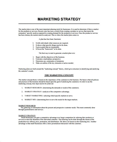 promotional strategy template 8 marketing strategy templates sle templates