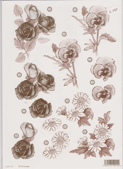 Decoupage Uk - craft uk floral die cut decoupage pansy virgo