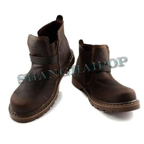 casual motorcycle riding boots mens brown leather harness riding ankle boots strapped