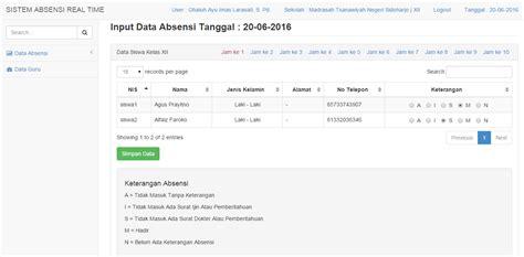 membuat web absensi online dengan php dan mysql live demo download source code