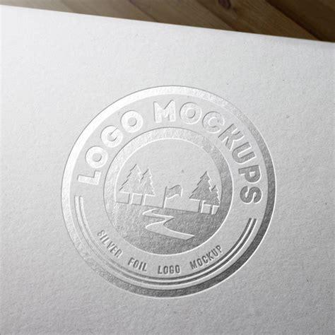 metal engraved mockup silver foil logo mockup