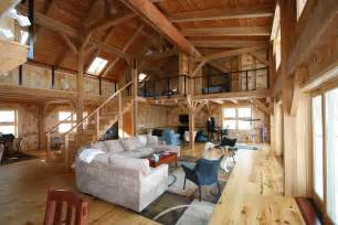 barn home interiors mortise tenon joined barn timber frame