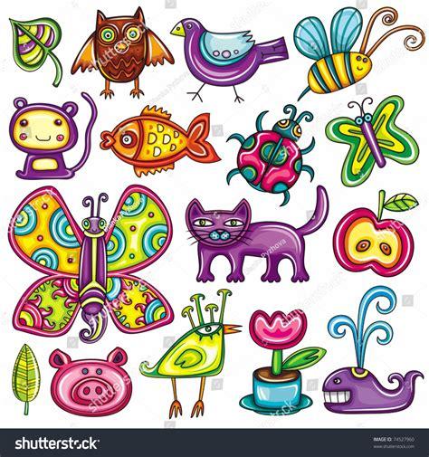 doodle flora fauna flora fauna theme vector set stock vector 74527960