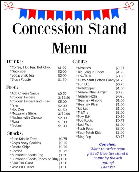 Concession Stand Menu Template by Concession Stand Menu Creek Baseball