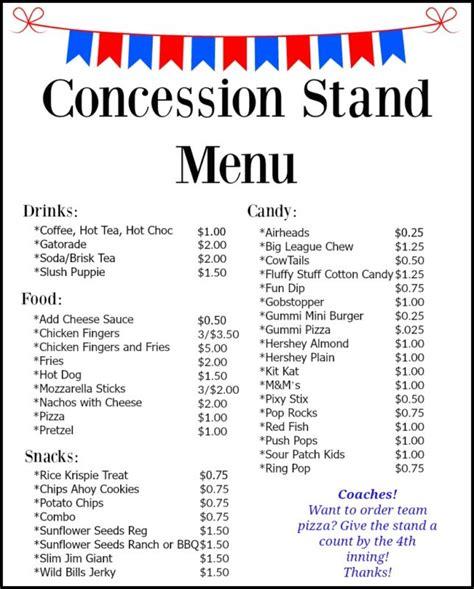 Concession Stand Menu Bear Creek Baseball Concession Stand Menu Template Free