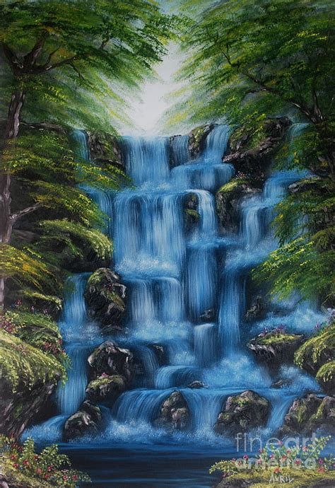acrylic painting waterfalls waterfall painting by avril brand