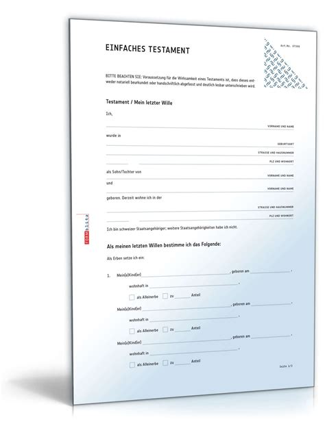 Vorlage Testament Schweiz Einfaches Testament Muster Vorlage Zum