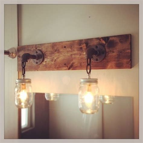 Primitive Vanity Lights Industrial Rustic Modern Wood Handmade Jar Light Fixture Jar 2 Light Fixture