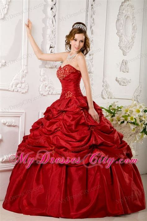 design your quinceanera dress game wine red sweetheart pick ups quinceanera party dress