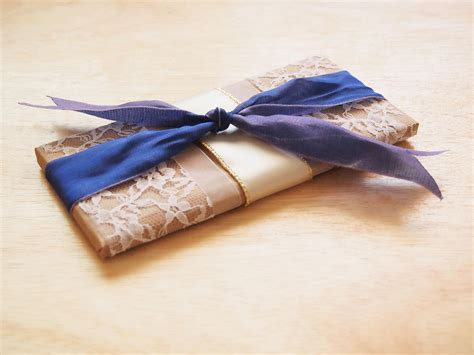 to wrap how to gift wrap a chocolate bar in brown paper and lace