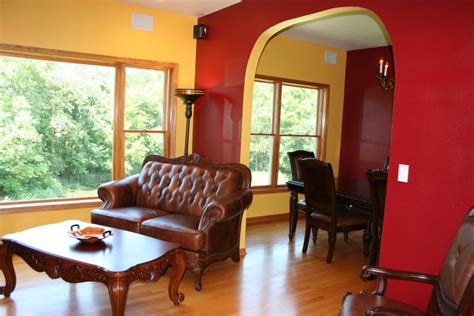 red and yellow living room rooms and event spaces