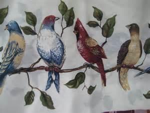 Curtains Birds Theme Vintage Bird Theme Curtains Cottage Decor