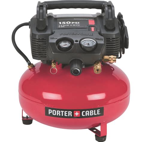 porter cable portable electric pancake air compressor kit 0 8 hp 6 gallon 2 6 cfm model