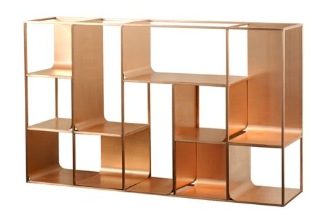 Single Bookcase Copper View Shelf By Kme Stylepark