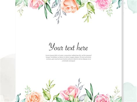 watercolor floral frame background  volcebyyou studio