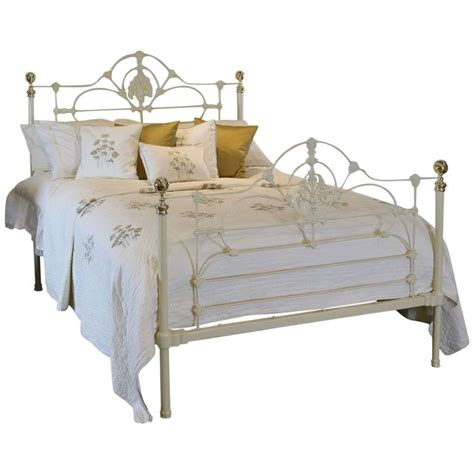 cast iron beds cast iron and brass bed in cream mk95 at 1stdibs