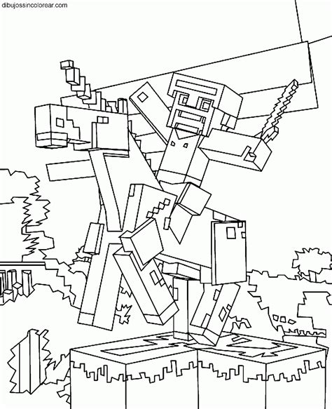 minecraft coloring pages monsters steve de minecraft para imprimir y pintar minecraft