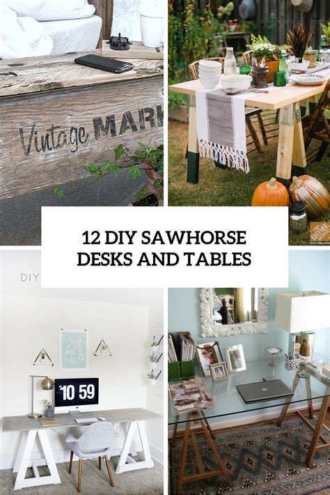 diy sawhorse desk 12 rustic inspired diy sawhorse tables and desks shelterness
