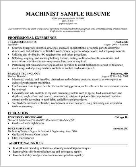 Free Resume Templates For Machinist machinist resume template all about letter exles