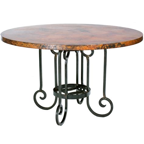 curled leg dining table with 48 inch copper top