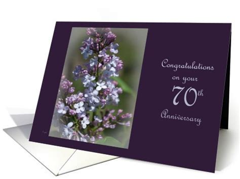 70th wedding anniversary: Lilac card (417322)