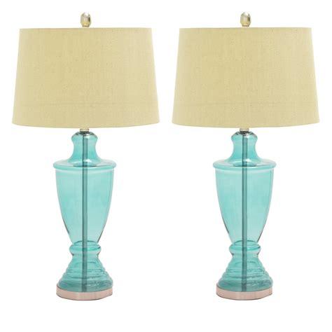 aqua glass table l designs aqua blue glass table ls set of 2 ebay