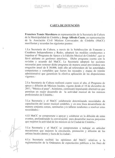 carta de intencion trabajo m 218 sicos convocados de c 211 rdoba municipalidad y m 250 sicos