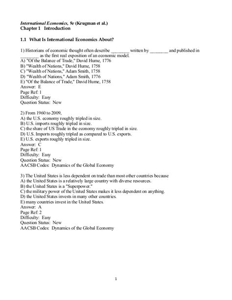 International Economics 1 krugman international economics 9e chapter 1