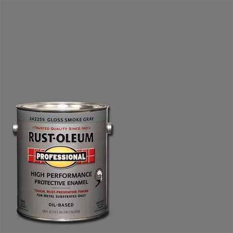 rust oleum professional 1 gal smoke gray gloss protective enamel of 2 242255 the home