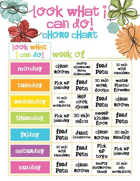 preschool girl chore chart template jpg 1236 215 1600