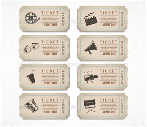 retro ticket place card template 13 ticket templates free word eps psd formats