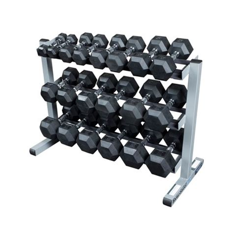 Rubber Hex Dumbbell Set With Rack by Solid Dumbell Rack With 5 50lb Rubber Hex Dumbell Set