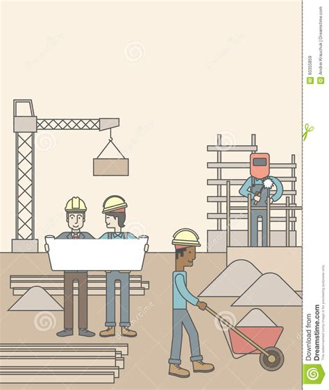 layout work in construction construction site stock vector image 60355859