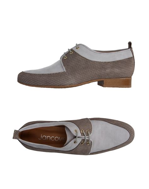 Madalena Square Flat Shoes jancovek lace up shoe in gray lyst