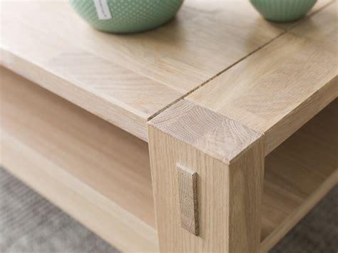 Table basse en chêne massif avec double plateaux