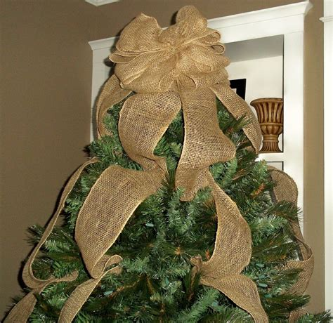 how much ribbon for a 7ft tree burlap tree topper bow with streamers burlap decorations brown tree topper